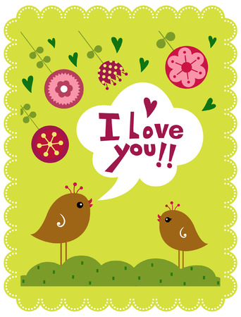 leaves vector: bird and flower text