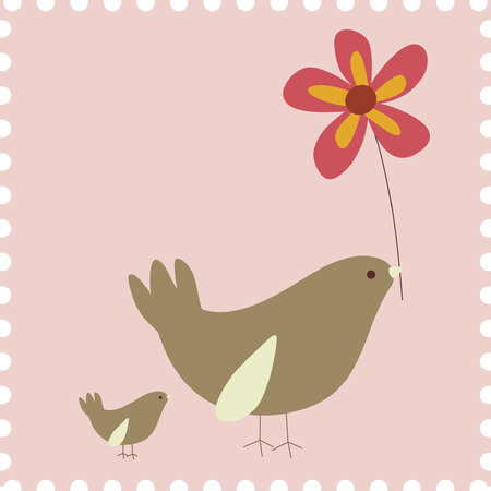whimsical pattern: birds and flower