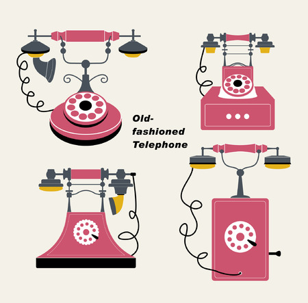 vector old-fashioned telephone sets