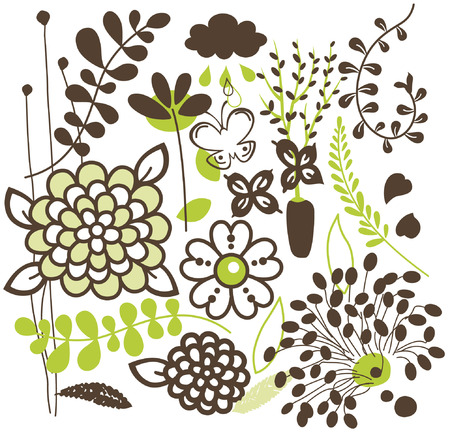 vector flora set design Stock Vector - 4666165