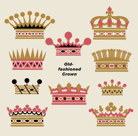 famous star:  vector old-fashioned crown sets