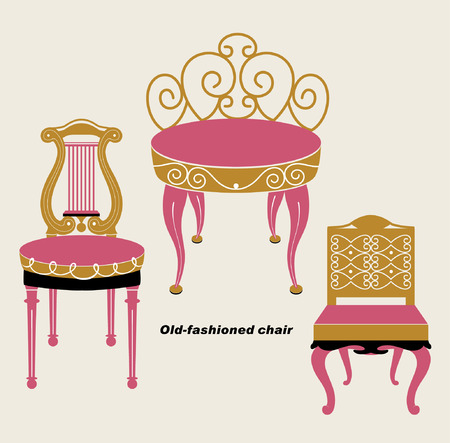 vector old-fashioned chair sets Vector