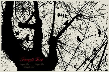 tree in field: birds Illustration