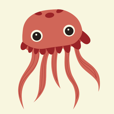poster bed: vector cute pink jellyfish
