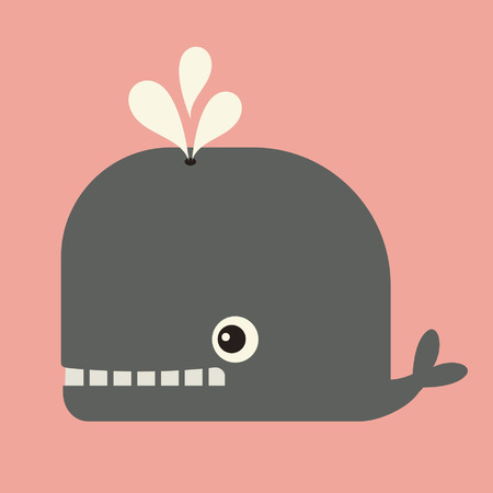 cartoon whale:  vector cute whale