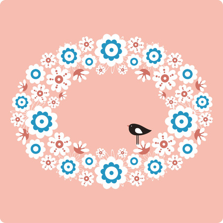 clumsy: Vector bird and flower Illustration