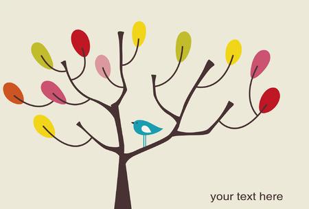 bird and tree: vector bird and tree