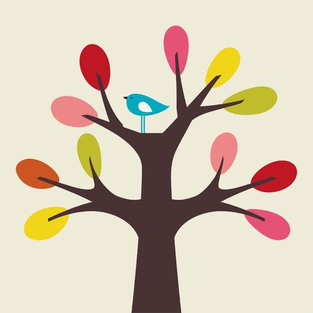aves caricatura: vector de aves y �rboles