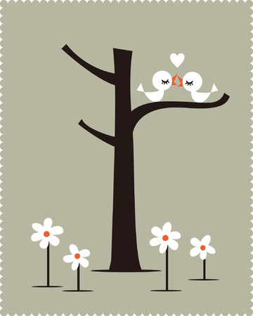 clumsy: Vector bird and tree Illustration