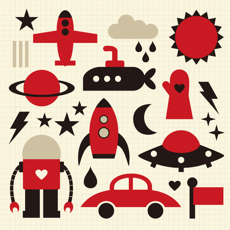 Vector cute objects icons set Stock Vector - 4760268
