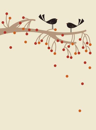 vector tree and bird Vector