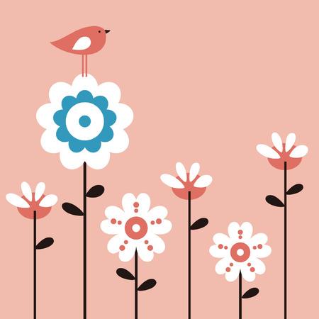벡터 꽃과 새