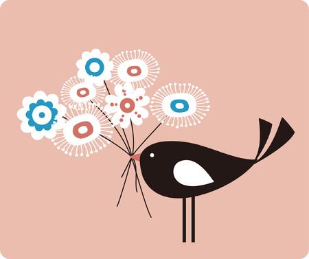 ave de vector y flor  Ilustración de vector