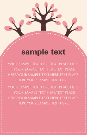 sew tags: vector pink tree FlyerPoster Template