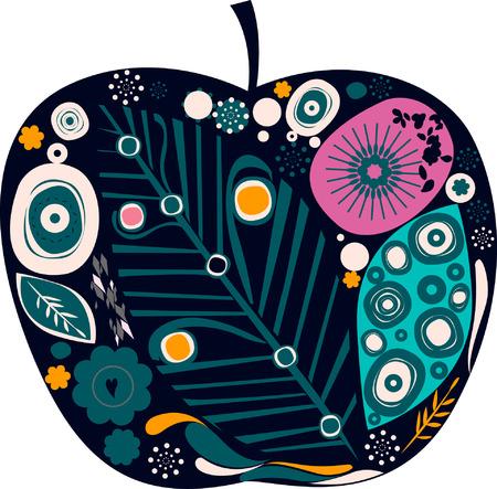 cartoon trees: apple
