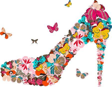 donna farfalla: scarpe Vettoriali