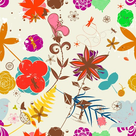 Retro Floral (Seamless Pattern)  Vector