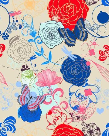 Retro Floral (Seamless Pattern)