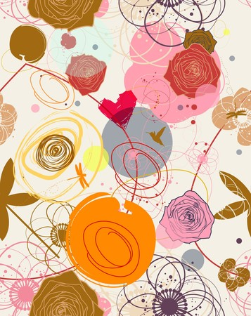 feminine background: Floral patr�n transparente en estilo retro