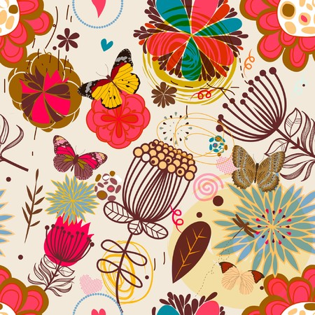 love bird: Floral seamless pattern in retro style  Illustration