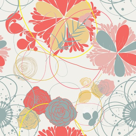 floral ornaments: Floral seamless pattern in retro style  Illustration