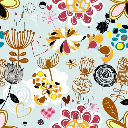 Floral seamless pattern in retro style  Çizim
