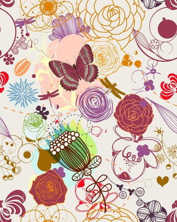 feminine: Floral seamless pattern in retro style Illustration