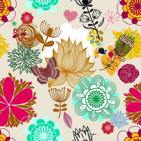 Floral seamless pattern in retro style  photo