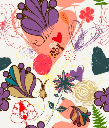 Floral seamless pattern in retro style  Banco de Imagens