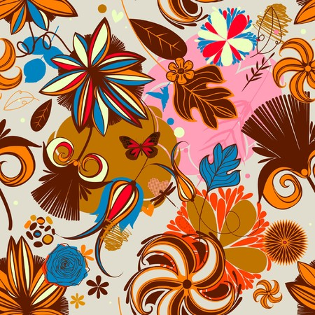 vintagern: Vector Retro Floral (Seamless Pattern) Stock Photo