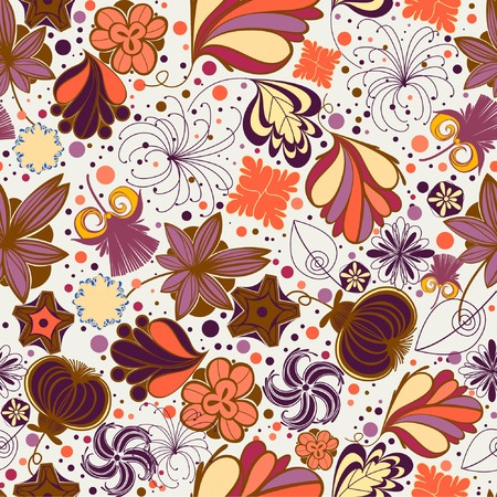 wallpaperrn: Floral seamless pattern in retro style  Illustration