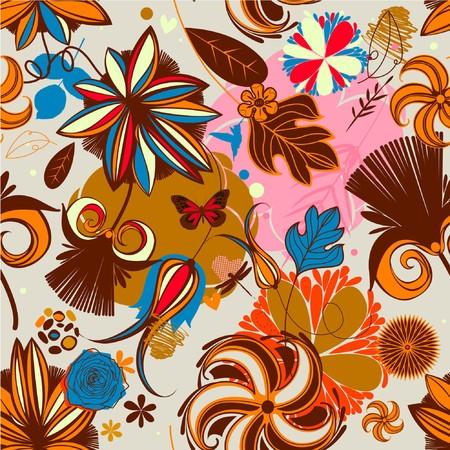 Floral seamless pattern in retro style  Ilustração