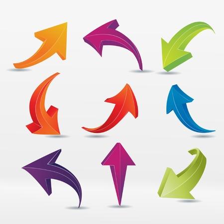 3 point perspective: 3D arrows  Illustration