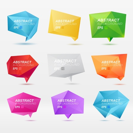 speech: Abstract origami speech bubble vector background