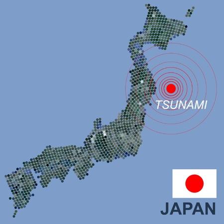 epicenter: Japan map with seismic epicenter Illustration