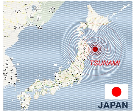 Japan map with seismic epicenter 일러스트