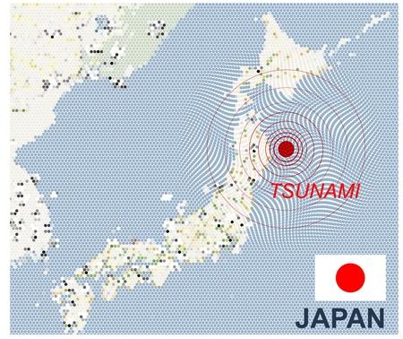 Mappa del Giappone con epicentro sismico