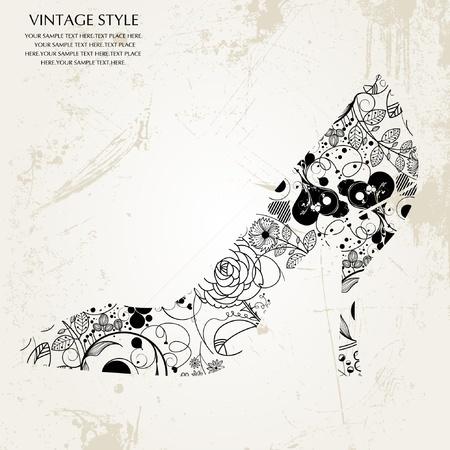 vintage rose: shoes Illustration