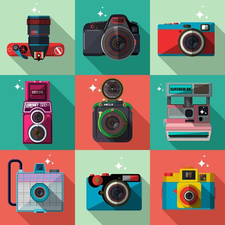 camera symbol: Vector 3D Flat Retro Cameras