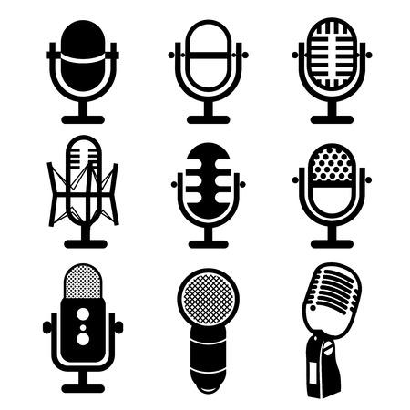 Microphone vector Vettoriali