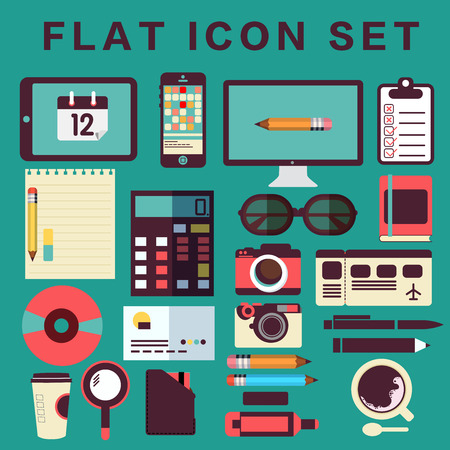 rom: Designers desktop, set of flat icons Illustration