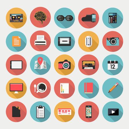 bill board: Designers desktop, set of flat icons Illustration