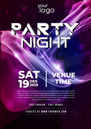 Dance Club Night Party Flyer Brochure Layout Template. Club Party Banner design. Vector illustration - Vector Vettoriali