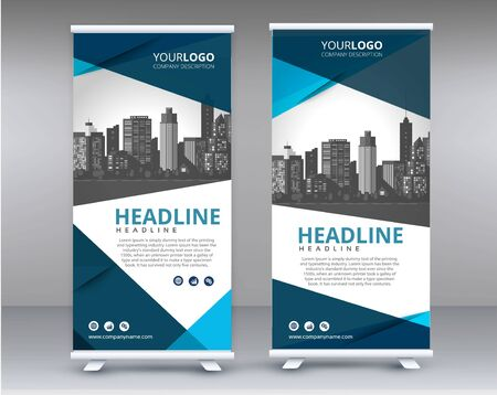 Modern Exhibition Advertising Trend Business Roll Up Banner Stand Poster Brochure flat design template creative concept. Presentation. Cover Publication. Stock vector. EPS - Vec Vektorové ilustrace