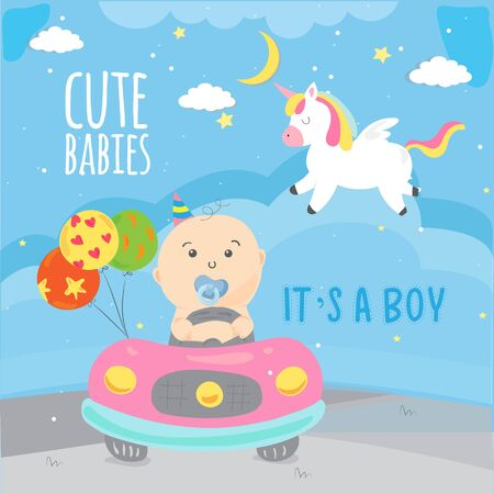 Baby boy shower card. Invitation template with pegasus, place for your text - Vector Vectores