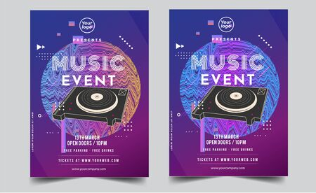 Dance Club Night Party Flyer Brochure Layout Template. Club Party Banner design. Vector illustration - Vector Ilustración de vector