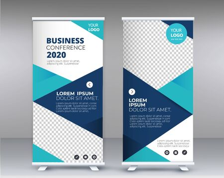 Modern Exhibition Advertising Trend Business Roll Up Banner Stand Poster Brochure flat design template creative concept. Presentation. Cover Publication. Stock vector