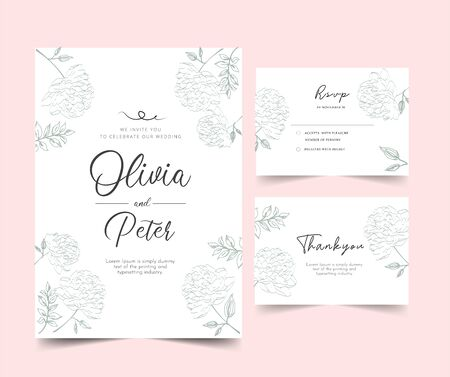 floral background with flowers wedding invitation set