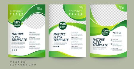Vector eco flyer, poster, brochure, magazine cover template. Modern green leaf, environment design. - Vector