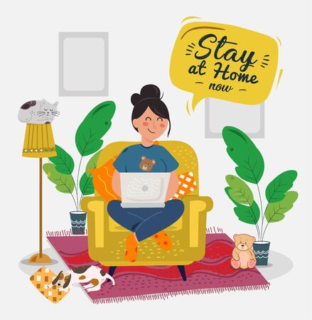 Stay home banner template.Quarantine or self-isolation. Health care concept. Fears of getting coronavirus. Global viral epidemic or pandemic. Trendy flat vector illustration